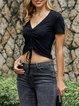 Black Short Sleeve Solid Shirts & Tops