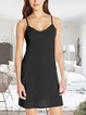 European and American casual basic simple summer suspender dress