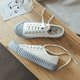 Light Blue Biscuit Lace-Up Canvas Sneakers