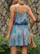 Blue Cold Shoulder Graffiti Dresses