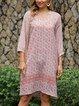 Pink Tribal Long Sleeve Dresses