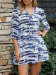 Blue Boho V Neck Dresses