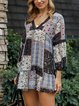 Black Long Sleeve Tribal V Neck Dresses