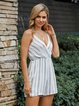 White Holiday Stripes Off Shoulder One-Pieces