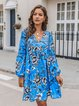 Blue Paneled V Neck Shift Long Sleeve Dresses