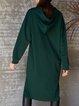 Green Knitted Shift Long Sleeve Dresses