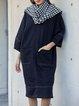 Black Solid Long Sleeve Shift Cotton Dresses