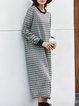Black-White Checkered/plaid Long Sleeve Dresses
