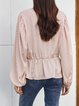 White Simple V Neck Polka Dots Bell Sleeve Shirts & Tops