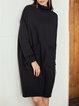 Black Knitted Long Sleeve Turtleneck Simple & Basic Dresses
