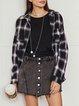 Blue Long Sleeve Simple Checkered/plaid Shirt Collar Outerwear