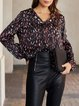 Black V Neck Geometric Casual Long Sleeve Shirts & Tops
