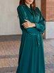 Green Long Sleeve Satin Shift Solid Dresses