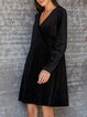 Black Long Sleeve Sexy Solid V Neck Dresses