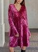 Pink V Neck Bell Sleeve Dresses