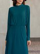 Green Solid Crew Neck Silk-Satin Long Sleeve Dresses