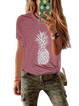 As Picture Cotton Printed Crew Neck Short Sleeve Shirts & Tops