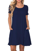 Crew Neck Solid Casual Short Sleeve Dresses