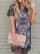 Plus Size Crew Neck Vintage Cotton-Blend Dresses