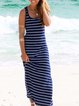 Casual Stripes Sleeveless Dresses