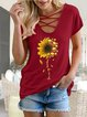 European and American summer casual personality sunflower print V-neck short sleeve T-shirt