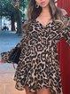 Leopard Sweet A-Line Chiffon V Neck Dresses