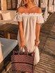 White Short Sleeve Boho Cotton Dresses