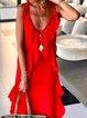 Spaghetti Red Ruffled Casual Sleeveless Maxi Dress