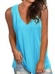 Solid Casual V Neck Cotton-Blend Shirts & Tops