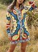 Boho Floral Long Sleeve Printed Shift Dresses With Belt