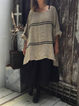 As Picture Crew Neck Casual Linen Shirts & Tops