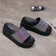 Pi Clue Sparkling Glitter Block Heel Slippers