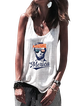 White Letter Cotton-Blend Sleeveless Shirts & Tops