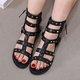 Pi Clue Black Rivet Flat Heel Holiday Sandals