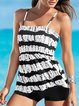 White Holiday Printed Off Shoulder Swimwear