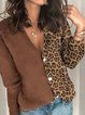 Coffee Cotton-Blend Casual V Neck Buttoned Sweater