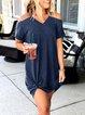 Plain Cold Shoulder Casual Dresses