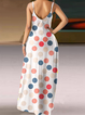 Polka Dots Casual Sleeveless V Neck Pockets Maxi Dress