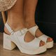 Pi Clue White Wedge Heel Casual Sandals