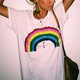 Vintage Short Sleeve Rainbow Printed Plus Size Casual Tops