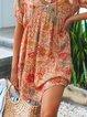 Orange Red Short Sleeve Boho Dresses