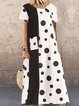 Vintage Polka Dots Plus Size Short Sleeve Casual Dresses