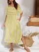 Casual Plus Size Striped Maxi Dresses