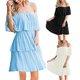 Vintage Plain One Shoulder Ruffled Plus Size Casual Dresses