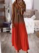 Casual Printed V-neck Sleeveless Maxi Dress