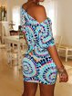 Blue Bodycon Ombre/tie-Dye Short Sleeve Dresses