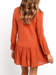 Solid Buttoned Long Sleeve Casual Dresses