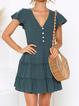 Solid V Neck Short Sleeve Casual Dresses