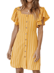 Striped Casual Short Sleeve Buttoned Dresses