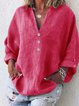 Cotton-Blend V Neck Shirts & Tops